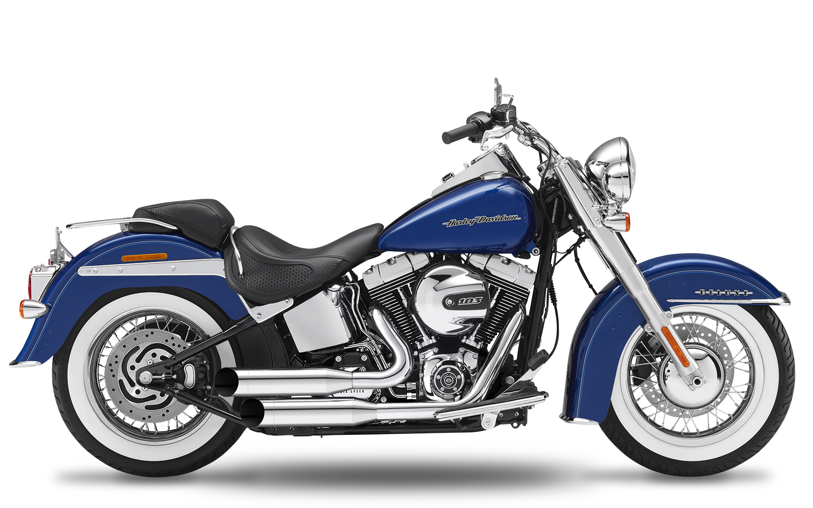 Softail Deluxe Tc96 2007 2011 Complete Systems Style Esm2 2in2 3 Shotgun Low Staggered Chrome Endcaps Big Slash Chrome